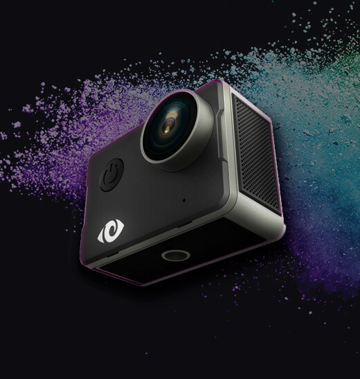 Action camera on a black background with rainbow